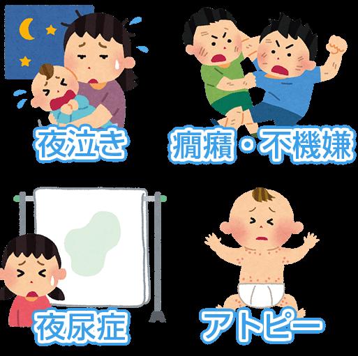 夜尿症・夜泣き・癇癪・不機嫌・アトピー